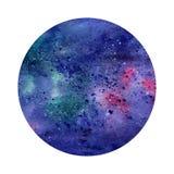Αφηρημένος διαστημικός κύκλος Watercolor ανασκόπηση κοσμική Μπορέστε να χρησιμοποιηθείτε για τις ευχετήριες κάρτες, εμβλήματα, lo Στοκ εικόνες με δικαίωμα ελεύθερης χρήσης