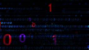 αφηρημένος Ιστός ταπετσαριών ανασκόπησης δυαδικός μαύρος μπλε σκοτεινός ψηφιακός Μεγάλος ψηφιακός κώδικας στοιχείων Φουτουριστική απεικόνιση αποθεμάτων