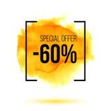 Αφηρημένος κίτρινος παφλασμός watercolor με την έκπτωση 40 τοις εκατό από την πώληση Στοκ φωτογραφία με δικαίωμα ελεύθερης χρήσης