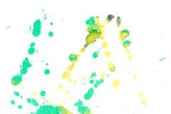 Αφηρημένος κιτρινοπράσινος παφλασμός μελανιού Στοκ Εικόνες