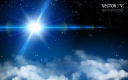 Αφηρημένος κόσμος απείρου αστεριών διαστημικός Μπλε να λάμψει Ρεαλιστικά στοιχεία σχεδίου επίδρασης Διανυσματικό σύγχρονο υπόβαθρ ελεύθερη απεικόνιση δικαιώματος