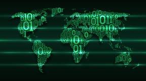 Αφηρημένος κόσμος χαρτών με τις ηπείρους από τον ψηφιακό δυαδικό κώδικα σε ένα σκούρο πράσινο υπόβαθρο με τις καμμένος γραμμές συ διανυσματική απεικόνιση