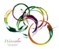 Αφηρημένος κύκλος ακρυλικός και στοιχεία σχεδίου watercolor Στοκ Εικόνα