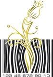 Αφηρημένος κώδικας φραγμών με το λουλούδι Στοκ Εικόνες