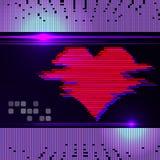 Αφηρημένος μηνύτορας καρδιών σε μια σκοτεινή ανασκόπηση. Στοκ Φωτογραφίες