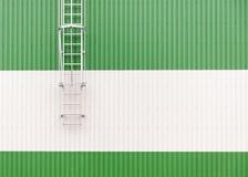Αφηρημένος μινιμαλιστικός βιομηχανικός τοίχος αποθηκών εμπορευμάτων με τη σκάλα μετάλλων στοκ εικόνα