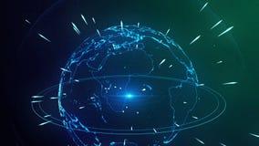 αφηρημένος μπλε κοσμικός πλανήτης ανασκόπησης απόθεμα βίντεο