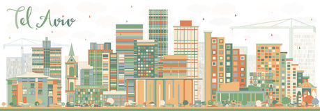 Αφηρημένος ορίζοντας του Τελ Αβίβ με τα κτήρια χρώματος ελεύθερη απεικόνιση δικαιώματος