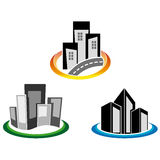 Αφηρημένος ουρανοξύστης με τον πράσινο κύκλο απεικόνιση αποθεμάτων