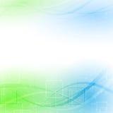 Αφηρημένος πράσινος μπλε αέρας μορίων διανυσματική απεικόνιση