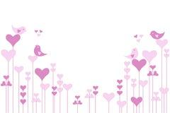 Αφηρημένος ρόδινος κήπος καρδιών με τα lovebirds στο λευκό απεικόνιση αποθεμάτων