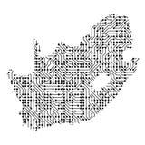 Αφηρημένος σχηματικός χάρτης της Νότιας Αφρικής από το τυπωμένο ο Μαύρος BO Στοκ φωτογραφία με δικαίωμα ελεύθερης χρήσης