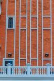 Αφηρημένος σύγχρονος τουβλότοιχος του επιχειρησιακού κτηρίου Παλαιό πορτοκάλι Στοκ Εικόνες
