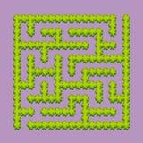 Αφηρημένος τετραγωνικός λαβύρινθος - πράσινος κήπος, θάμνοι κατσίκια παιχνιδιού Γρίφος για τα παιδιά Μια είσοδος, μια έξοδος Αίνι διανυσματική απεικόνιση