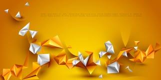 Αφηρημένος τρισδιάστατος γεωμετρικός, πολύγωνο, μορφή σχεδίων τριγώνων Κίτρινο, πορτοκαλί υπόβαθρο χρώματος κλίσης στοκ εικόνες με δικαίωμα ελεύθερης χρήσης