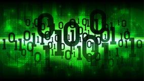 Αφηρημένος φουτουριστικός να λάμψει κυβερνοχώρος με το δυαδικό κώδικα, πράσινο υπόβαθρο μητρών με τον ψηφιακό κώδικα, σύννεφο των διανυσματική απεικόνιση