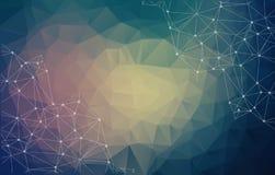 Αφηρημένος φουτουριστικός - τεχνολογία μορίων με τις polygonal μορφές απεικόνιση αποθεμάτων