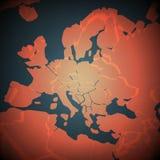 Αφηρημένος χάρτης της Αφρικής και της Ευρώπης Διανυσματική ανασκόπηση Φουτουριστική κάρτα ύφους ελεύθερη απεικόνιση δικαιώματος