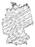 Αφηρημένος χαοτικός χάρτης της Ομοσπονδιακής Δημοκρατίας της Γερμανίας που απομονώνεται στο άσπρο υπόβαθρο απεικόνιση αποθεμάτων