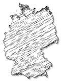 Αφηρημένος χαοτικός χάρτης της Ομοσπονδιακής Δημοκρατίας της Γερμανίας με τη σκιά που απομονώνεται στο άσπρο υπόβαθρο απεικόνιση αποθεμάτων