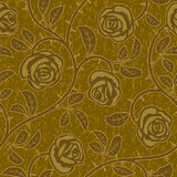 Αφηρημένος χρυσός αυξήθηκε άνευ ραφής υπόβαθρο λουλουδιών Στοκ Φωτογραφία