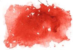 Αφηρημένος χρώμα κόκκινου χρώματος τέχνης μορφών ακουαρελών watercolor συρμένος χέρι ζωηρόχρωμος ή λεκές αίματος splatter απεικόνιση αποθεμάτων