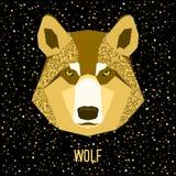 Αφηρημένος λύκος Το χρυσό σπινθήρισμα ακτινοβολεί σύσταση Στοκ Φωτογραφία