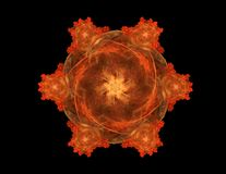 Αφηρημένος fractal χρυσός συμμετρικός αριθμός για το Μαύρο στοκ εικόνες