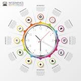 Αφηρημένος infographic Ρολόι σύγχρονο πρότυπο σχεδίο&upsil διάνυσμα Στοκ Φωτογραφίες