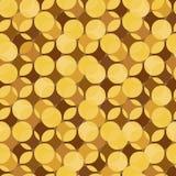 Αφηρημένο άνευ ραφής διανυσματικό σχέδιο με τις χρυσές μορφές νομισμάτων διανυσματική απεικόνιση