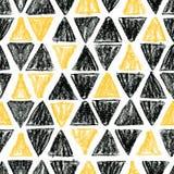 Αφηρημένο άνευ ραφής Σκανδιναβικό σχέδιο με μαύρο και κίτρινο τρι Στοκ εικόνα με δικαίωμα ελεύθερης χρήσης