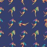 Αφηρημένο άνευ ραφής σχέδιο με τα χορεύοντας κορίτσια σε ένα μπλε υπόβαθρο διανυσματική απεικόνιση