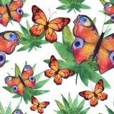 Αφηρημένο άνευ ραφής σχέδιο πεταλούδων Watercolor διανυσματική απεικόνιση