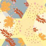 Αφηρημένο άνευ ραφής σχέδιο φθινοπώρου με τα φύλλα και τα στοιχεία σχεδίου Στοκ φωτογραφίες με δικαίωμα ελεύθερης χρήσης