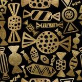 Αφηρημένο άνευ ραφής σχέδιο καραμελών Χρυσό υπόβαθρο καραμελών Στοκ εικόνες με δικαίωμα ελεύθερης χρήσης