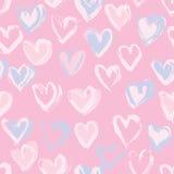 Αφηρημένο άνευ ραφής σχέδιο καρδιών Απεικόνιση μελανιού ρόδινος ρομαντικός ανασκ διανυσματική απεικόνιση