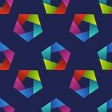 Αφηρημένο άνευ ραφής σχέδιο με τα ζωηρόχρωμα Πεντάγωνα Στοκ Εικόνα
