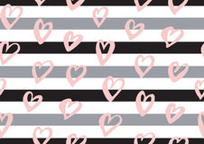 Αφηρημένο άνευ ραφής σχέδιο με τις καρδιές μελανιού, λωρίδες Στοκ εικόνες με δικαίωμα ελεύθερης χρήσης