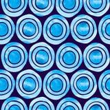 Αφηρημένο άνευ ραφής σχέδιο με τους μπλε κύκλους watercolor απεικόνιση αποθεμάτων