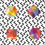 Αφηρημένο άνευ ραφής σχέδιο πολύτιμων λίθων Ζωηρόχρωμα κοσμήματα στο λευκό ελεύθερη απεικόνιση δικαιώματος