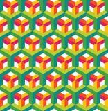 Αφηρημένο άνευ ραφής σχέδιο στο isometric ύφος Δικτυωτό πλέγμα των γεωμετρικών μορφών Στοκ φωτογραφίες με δικαίωμα ελεύθερης χρήσης
