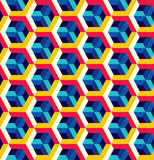 Αφηρημένο άνευ ραφής σχέδιο στο isometric ύφος Δικτυωτό πλέγμα των γεωμετρικών μορφών Στοκ φωτογραφία με δικαίωμα ελεύθερης χρήσης