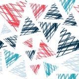 Αφηρημένο άνευ ραφής σχέδιο των χρωματισμένων τριγώνων στο grunge Στοκ Εικόνα