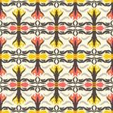 Αφηρημένο άνευ ραφής υπόβαθρο μοτίβου σχεδίων floral Ζωηρόχρωμο shap Στοκ Φωτογραφία