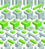 Αφηρημένο άνευ ραφής υπόβαθρο υψηλής τεχνολογίας με τα γκρίζα και πράσινα τρισδιάστατα αντικείμενα στο λευκό Στοκ Φωτογραφίες