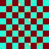 Αφηρημένο άνευ ραφής checkerboard με τα floral τεμάχια διανυσματική απεικόνιση