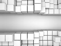 Αφηρημένο άσπρο υπόβαθρο τοίχων κύβων Στοκ Εικόνες