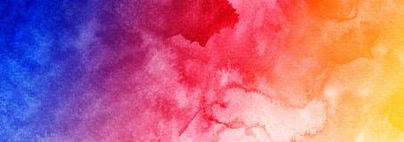 Αφηρημένο έμβλημα Ιστού υποβάθρου watercolor ζωηρόχρωμο μπλε πορφυρό ιώδες μενεξεδένιο κόκκινο πορτοκαλί κίτρινο κατασκευασμένο ελεύθερη απεικόνιση δικαιώματος