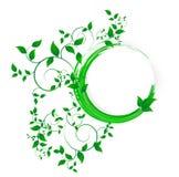 Αφηρημένο έμβλημα με τις μπούκλες του πράσινου χρώματος στοκ φωτογραφίες