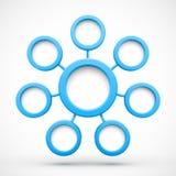 Αφηρημένο δίκτυο με τους κύκλους τρισδιάστατους διανυσματική απεικόνιση
